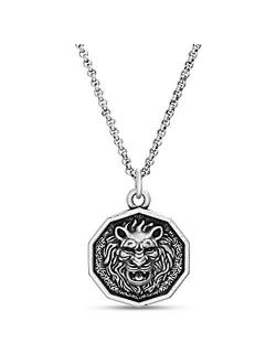 Men's Oxidized Lion Head Coin Pendant Chain Necklace In Stainless Steel, Silver, 28