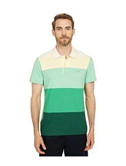 Men's Short Sleeve Regular Fit Ombre Colorblock Lightweight Pique Polo Shirt