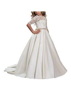 Beautiful First Communion Dress Lace Satin Princess Ball Gown Hollow Back Flower Girl Dress