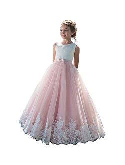Fancy Lace Embroidery Flower Girl Dress Floor Length Tulle Pageant Ball Gowns