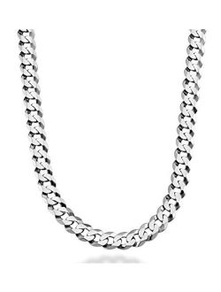 Miabella Solid 925 Sterling Silver Italian 9mm Solid Diamond-Cut Cuban Link Curb Chain Necklace for Men 18, 20,22, 24, 26, 28, 30 Inch Made in Italy