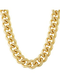 LIFETIME JEWELRY 11mm Cuban Link Chain Necklace for Men & Teen 24k Gold Plated