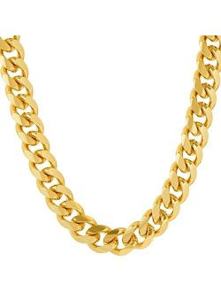 LIFETIME JEWELRY 9mm Cuban Link Chain Necklace for Men and Women 24k Gold Plated