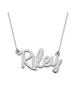 MyNameNecklace Personalized Cursive Name Necklace Custom Made Precious Metals Sterling Silver 925 & Gold Jewelry Nameplate Gift for Christmas