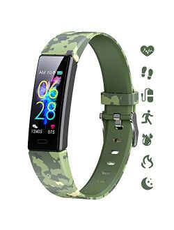 K-berho Slim Fitness Tracker for Kids Women Men,Heart Rate Monitor,IP68 Waterproof Activity Tracker for Boys&Girls,Blood Pressure,11 Sport Modes Health Smart Watch with P