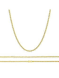 10K Gold Rope Chain Necklace, 10K Gold Chains for Women and Men, 1.7 MM Real 10K Diamond Cut Gold Rope Chain, Lobster Clasp, 10k Gold Rope Necklace for Men and Women, Fla