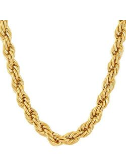 LIFETIME JEWELRY 7mm Rope Chain Necklace 24k Real Gold Plated for Men and Women