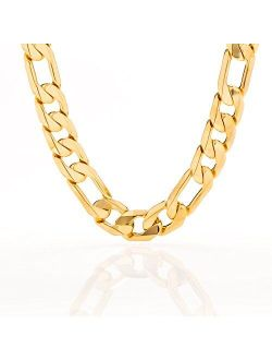 Lifetime Jewelry 11mm Figaro Chain Necklace 24k Gold Plated for Men Women & Teen