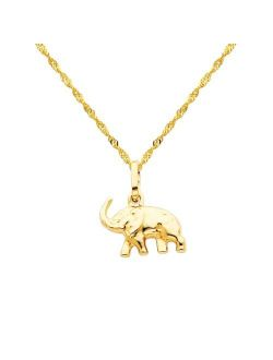 The World Jewelry Center 14k Yellow Gold Elephant Pendant with 1.2mm Singapore Chain Necklace