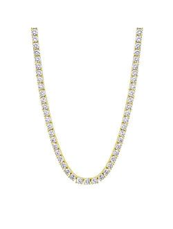 KRKC&CO Tennis Chain for Men, 14k Gold Chain for Men, Iced Out Chains Prong-Setting 5A Cubic Zirconia Stones Tennis Necklace, Hip Hop Jewelry for Rappers 3mm 4mm 5mm 6mm,