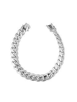 Verona Jewelers 925 Sterling Silver Solid Miami Cuban Link Chain Bracelet, 6.5MM - 14.5MM- Curb Cuban Bracelet, Solid Thick Big Link Bracelet for Men Boys, 8, 8.5, 9 Inch