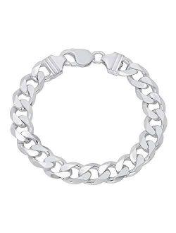 Sterling Silver Italian Curb Cuban Link Chain Bracelet for Men 7.5MM, 8MM, 9.2MM, 11MM, 15MM,- 925 Sterling Silver Bracelet For Men, Silver Cuban Link Chain