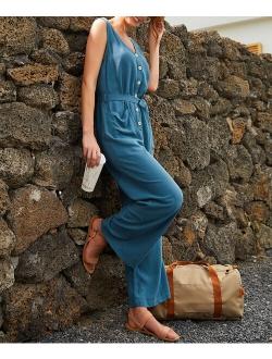 Dusty Blue Pocket V-Neck Tie-Waist Sleeveless Jumpsuit - Women & Plus