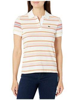 Women's Short Sleeve Regular Fit Striped Polo Shirt