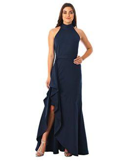 Fx Ruffle Cotton Knit Halter Maxi Dress - Customizable Neckline, Sleeve & Length