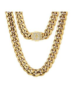 KRKC&CO 18mm/12mm Iced Cuban Link Chain, 18k Gold Necklace for Men, Durable and Anti-Tarnish Urban Street-wear, Never Fading, Everlasting Shine Hip Hop Mens Jewelry