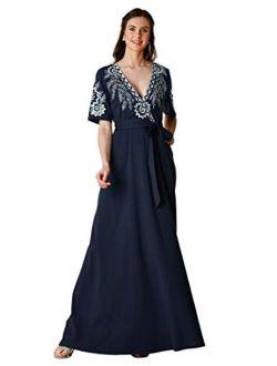 Fx Floral Embroidery Cotton Jersey Knit Surplice Dress- Customizable Neckline