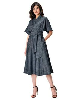 Fx Cotton Chambray Pleated Wrap Dress