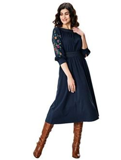 Fx Floral Embroidered Sleeve Ruched Cotton Jersey Dress