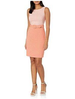 Women's Belted Two-toned Sheath Dress