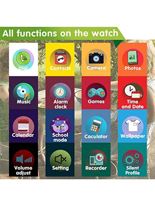 Kids Smart Watch for Boys Girls – Kids Smartwatch with Call 7 Games Music Player Camera SOS Alarm Clock Calculator 12/24 hr Touch Screen Children Smart Watch Birthday Gif