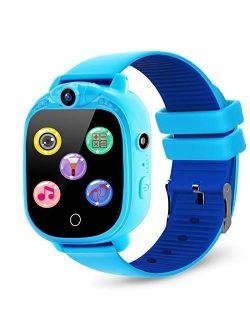 PROGRACE Kids Smart Watch with 90°Rotatable Camera Smartwatch Touch Screen Kids Watch Music Pedometer Flashlight FM Radio Games Digital Wrist Watch