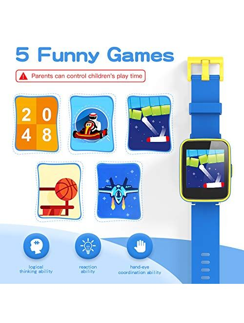 AGPTEK Kids Smart Watch for 3-12 Years Old, Kid Smartwatches with HD Dual Camera, Touchscreen, Educational Games, Music Player, Toddler Watch Learning Toys Birthday Gifts