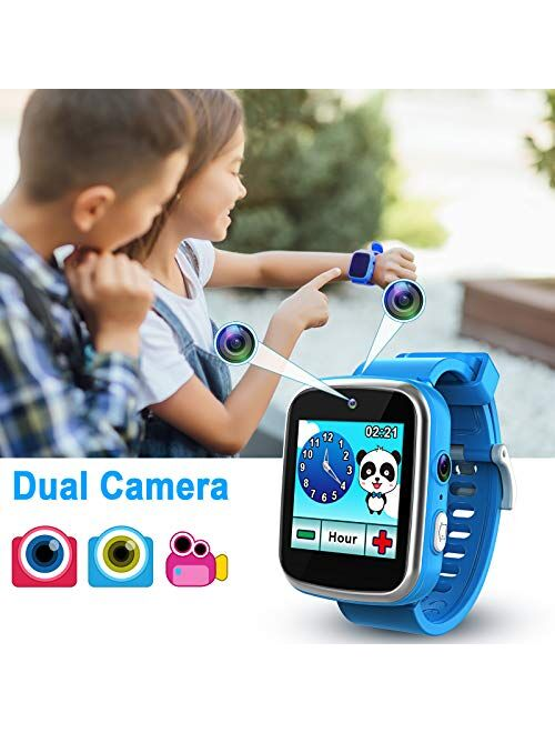 Foviza Kids Smart Watch Toys, Rechargeable Game Smartwatch for Boys & Girls, Multi-Function Touch Screen Kids Watches with Selfie-cam for Christmas/Xmas Birthday Gifts (B