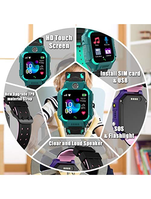 Smart Watch Phone Gift for Kids - Children Smartwatch Boys Girls with SOS Help 14 Puzzle Games Music MP3 MP4 Player HD Selfie Camera Calculator Alarms Pedometer 12/24 Hou