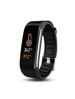 Smart Watch, Fitness Tracker with Body Temperature Thermometer Blood Oxygen Heart Rate Blood Pressure Monitor Sleep Monitor Step Counter Pedometer Calorie Counter IP67 Wa