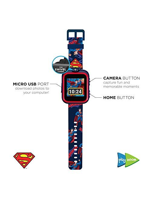 PlayZoom Superman Kids Smartwatch - Video and Camera Selfies Music Learning Educational Fun Interactive Games Touch Screen Sports Digital Watch Birthday Gift for Kids Tod