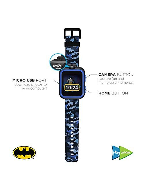 PlayZoom Batman Kids Smartwatch - Video and Camera Selfies Music Learning Educational Fun Interactive Games Touch Screen Sports Digital Watch Birthday Gift for Kids Toddl