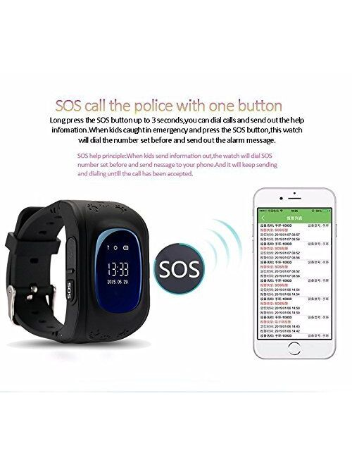 Waterproof Kids Smart Watch by Winnes with GPS Tracker SIM Card Phone Watch Anti-Lost Alarm Function Gift for Boys and Girls (Green)