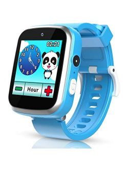 Smart Watch for Kids, Pink and Blue Color with HD Dual Camera Touch Screen Smart Learning Watch Educational Toys with Flashlight Music Player Multi-Function for Kids Age