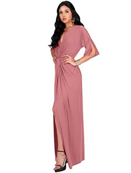 KOH KOH Womens Long Short Sleeve V-Neck Sexy Slimming Casual Summer Maxi Dress