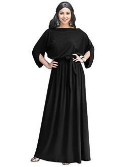 Flowy Formal Batwing Sleeve Evening Casual Gown