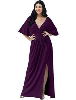 Womens Long Sexy Kimono Short Sleeve Slit Wrap V-neck Gowns Maxi Dress
