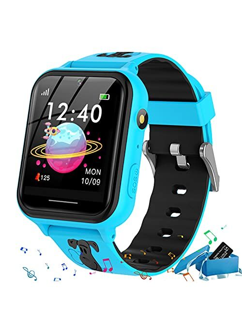 Jsbaby Smart Watch for Kids,Kids smartwatch with Music Player,Pedometer,Math Games,SOS Call,Camera,Alarm,Recorder,Calculator,Mp3,for Birthday Toys Children Boys Girls (Pi