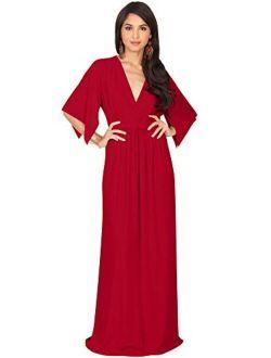 Womens Kaftan Short Sleeve Empire Waist Flowy V-neck