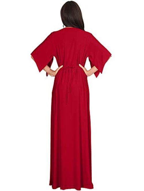 KOH KOH Womens Kaftan Short Sleeve Empire Waist Flowy V-Neck
