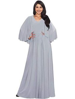 Womens V-neck Elegant Batwing Cape Sleeves Cocktail Maxi Dress Gown