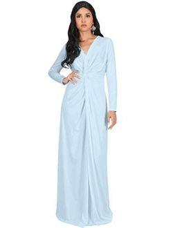 Womens Long Sleeve Semi Formal Fall Winter Flowy Gown Maxi Dresses