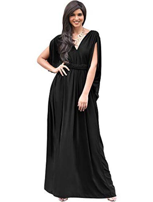 KOH KOH Womens Long V-Neck Summer Sexy Gown Grecian Flowy Sleeveless Maxi Dress