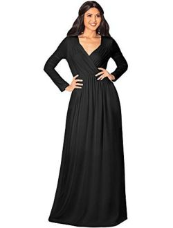 Womens Long Sleeve Empire Cocktail Elegant Evening Versatile Maxi Dress
