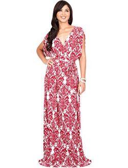 Womens Long Summer Flowy Short Sleeve V-neck Printed Gown Maxi Dress