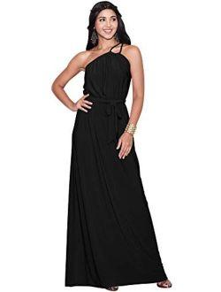Womens Long Sleeveless One Shoulder Evening Summer Bridesmaid Maxi Dress