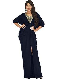 Womens Long Flowy Loose Fit Kaftan Evening Elegant Gown Maxi Dress