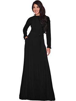 Womens Long Sleeve Elegant Pockets Fall Winter Evening Maxi Dress Gown