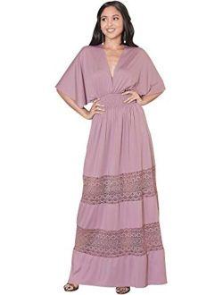 Womens Sexy Summer V-neck Half Sleeve Layered Lace Maxi Dress