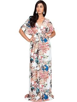 Short Kimono Sleeve V-Neck Floral Summer Long Casual Maxi Dress